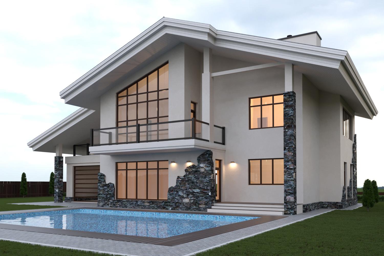 Двоповерховий будинок з басейном збудований за індивідуальним проектом