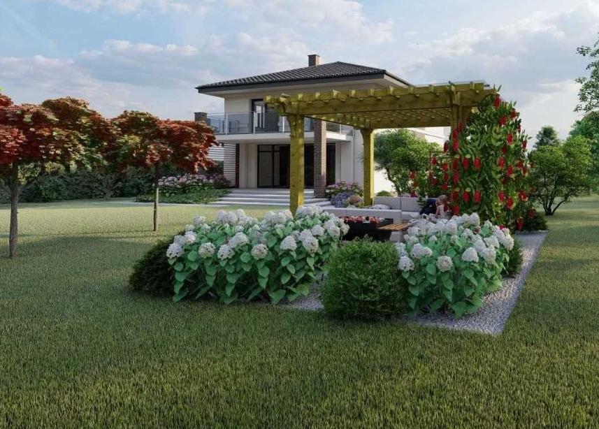 Уютный двор коттеджа (фото компании Topiar)