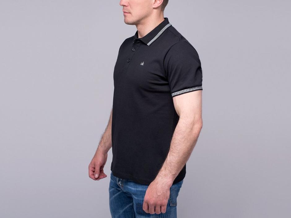Мужская футболка «polo» черного цвета (повседневная)