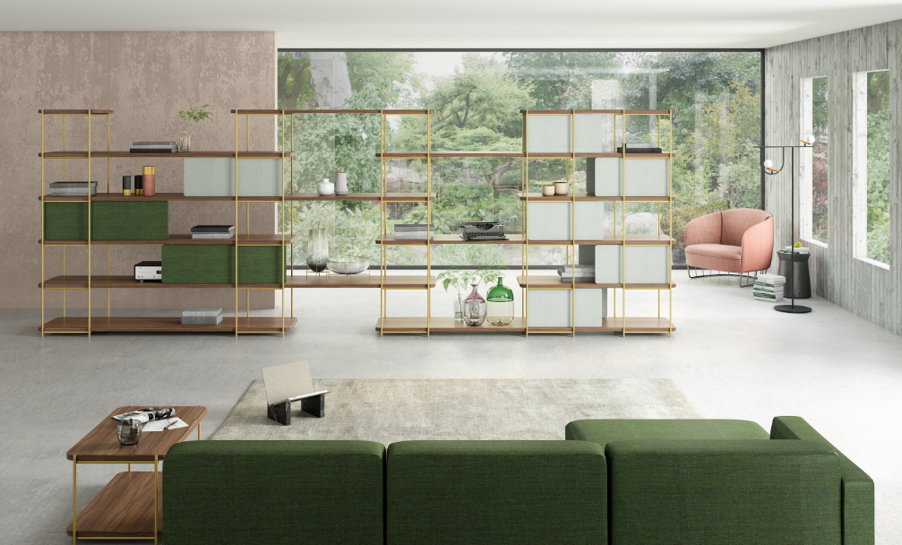 Модульная мебель в интерьере комнаты с панорамными окнами