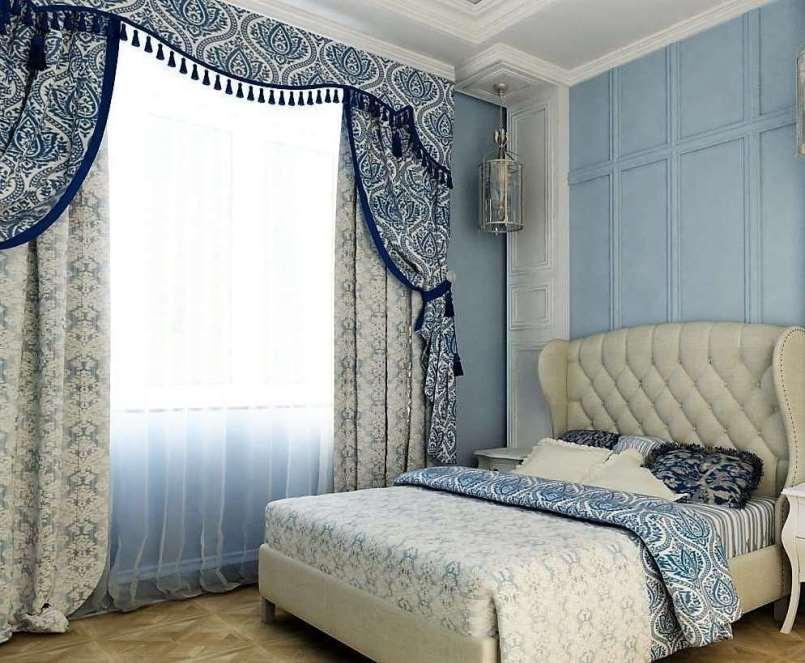 Шторы из материалы жаккард в интерьере спальни